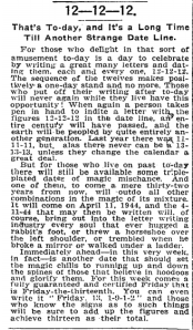 New York Times piece on 12/12/1912