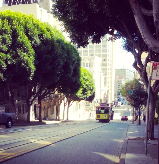 Powell Street with cable car, March 21, 2013