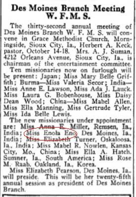Enola Eno bound for India, 1915