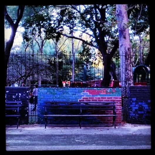 Multi-colored park bench, September 24, 2013