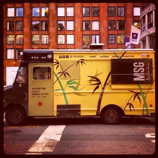 Mustard-colored food truck, September 26, 2013