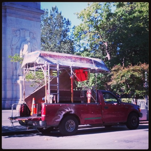 Truck with row-boat cover, September 28, 2013