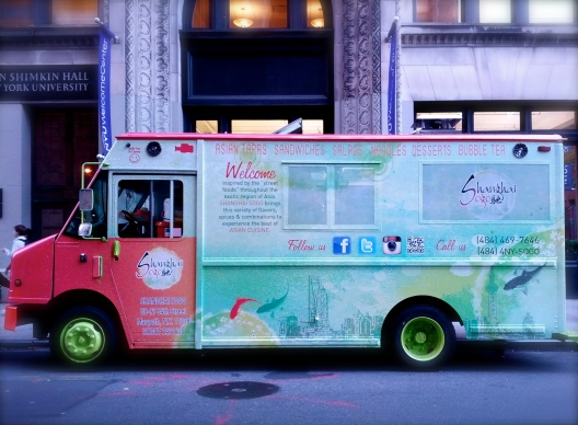 Food truck in raspberry and aqua, October 2, 2013