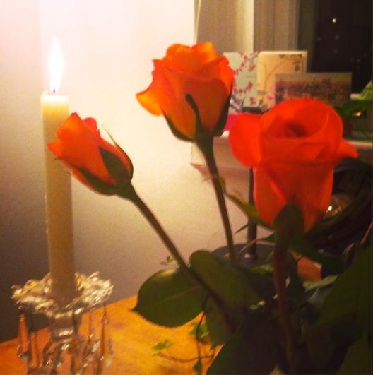 Roses, candle, November 30, 2013
