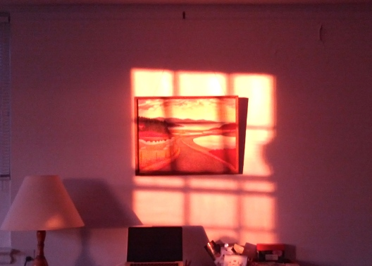 Painting framed by window shadow, 5:25 PM, February 24, 2014