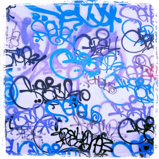 16th St. Graffiti in blue, pink, and black, March 20. 2014