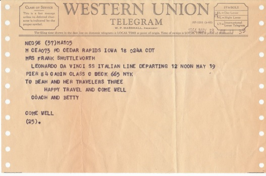 """Telegram to Beah's """"travelers three,"""" May 19, 1964"""