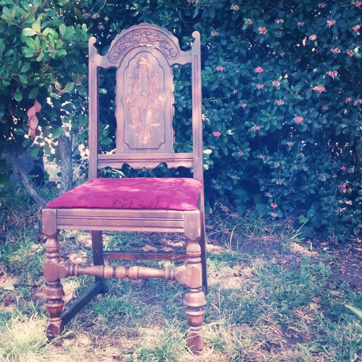 Chair with floral backdrop, June 7, 2014