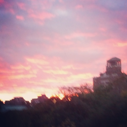 Pink and satin blue dusk, 6:00 PM October 26, 2014