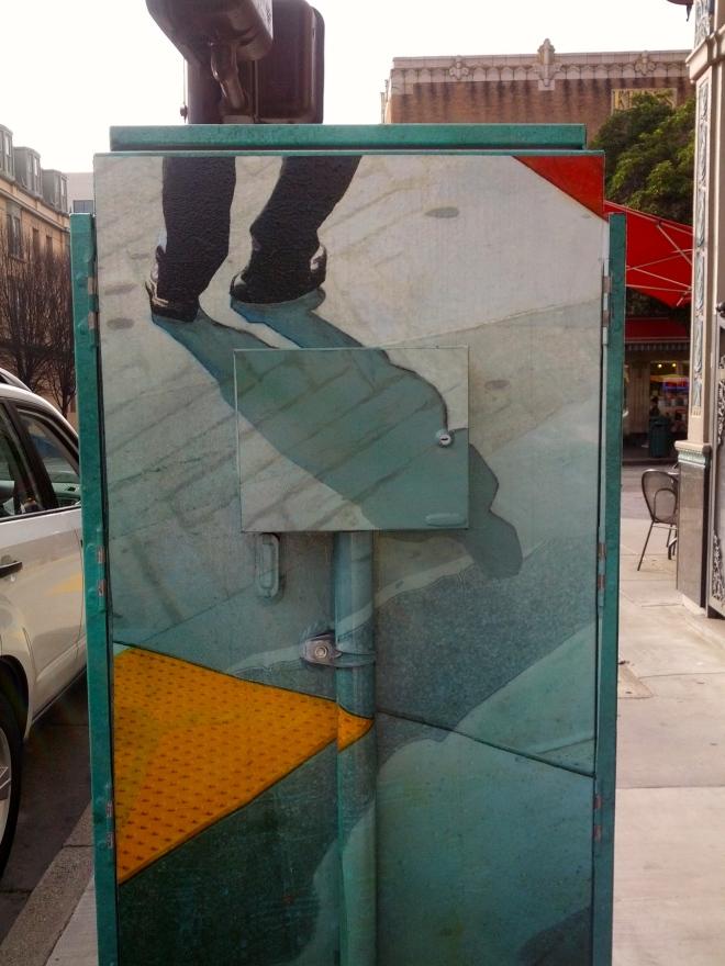 Trompe l'oeil utility box, February 2, 2015