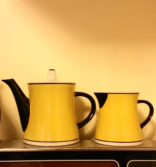Matching teapot and creamer, yellow with black trim, May 17, 2015