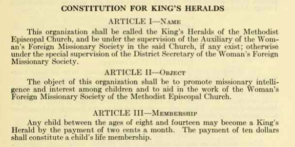 King's Heralds constitution, extract
