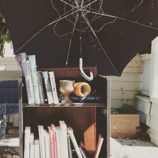 Library with umbrella shade, June 23, 2015