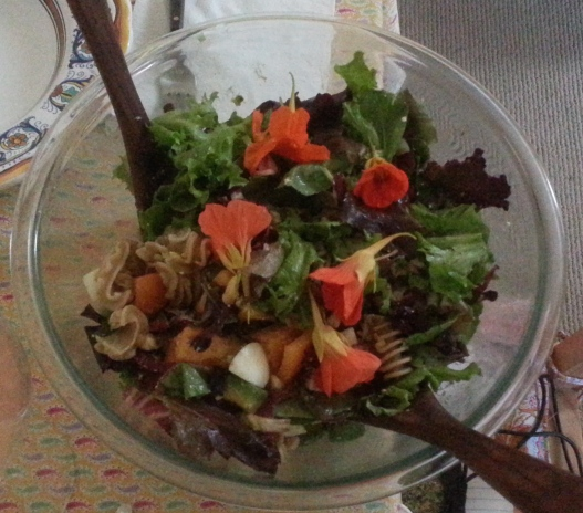 Salad with nasturtium blossoms, July 25, 2015