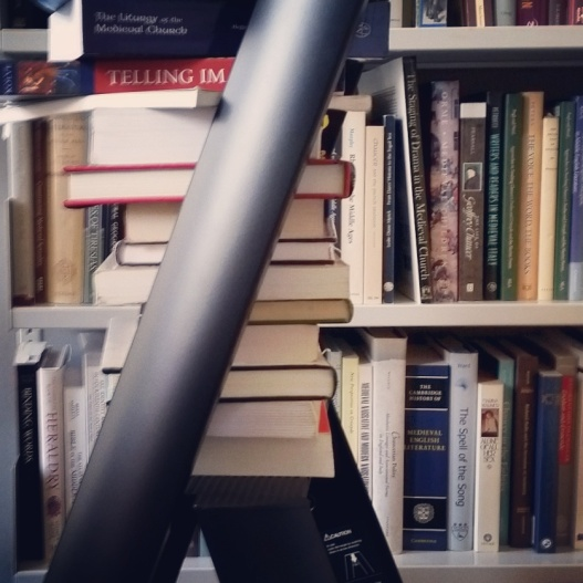 Books on a stepladder, August 19, 2015